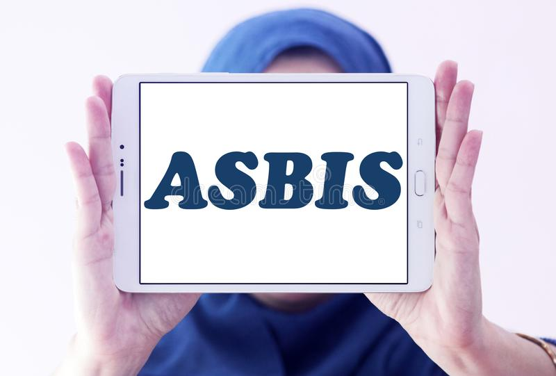ASBIS electronics company logo. Logo of ASBIS electronics company on samsung tablet holded by arab muslim woman. ASBIS Enterprises PLC is a multinational royalty free stock image