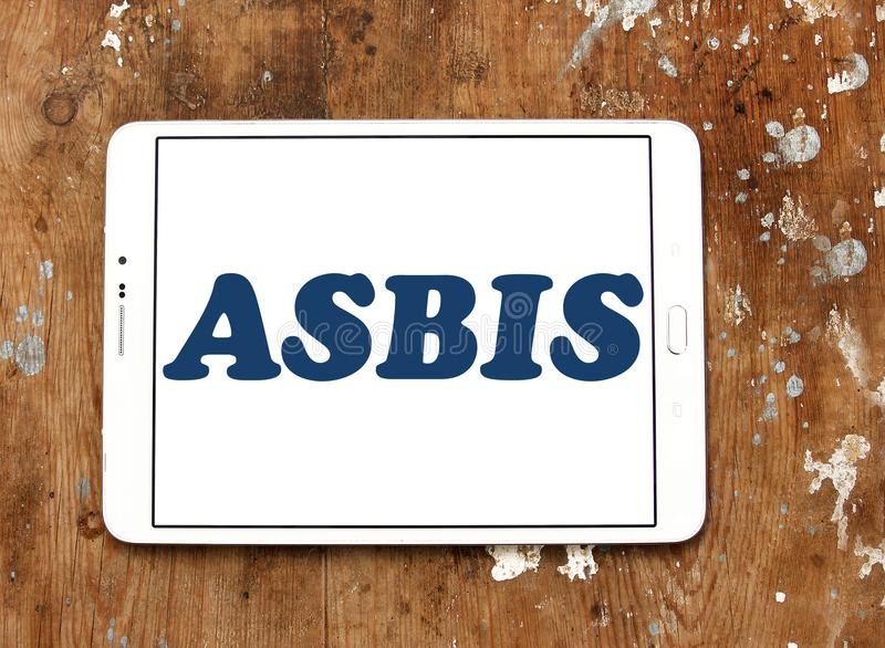 ASBIS electronics company logo. Logo of ASBIS electronics company on samsung tablet. ASBIS Enterprises PLC is a multinational corporate group that is engaged in royalty free stock photos