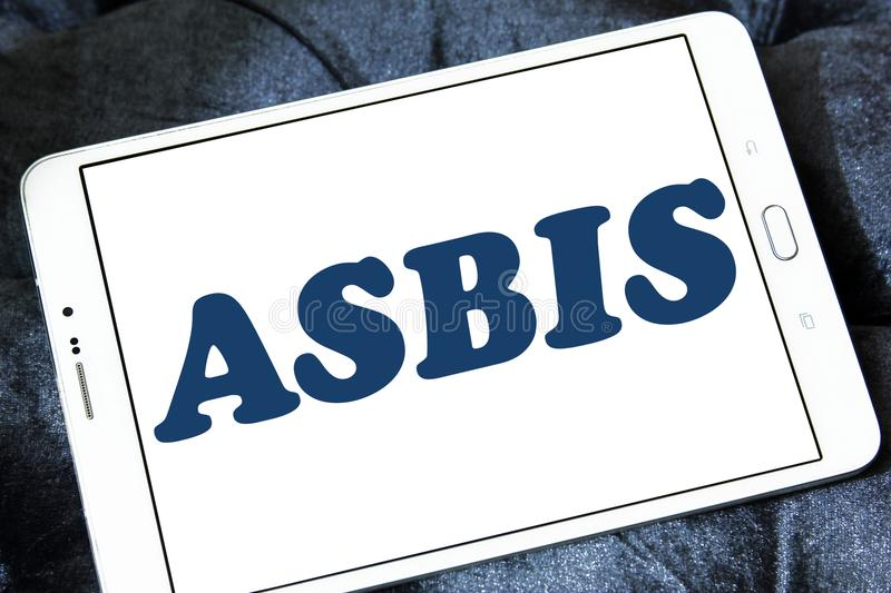 ASBIS electronics company logo. Logo of ASBIS electronics company on samsung tablet. ASBIS Enterprises PLC is a multinational corporate group that is engaged in royalty free stock photo