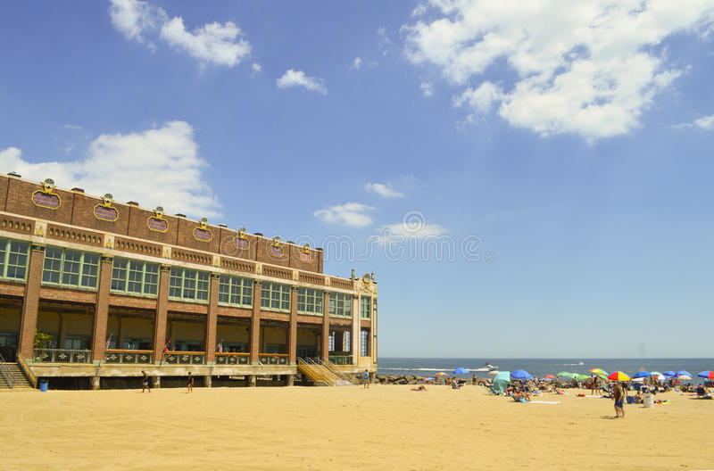 Asbury公园海滩场面 免版税库存图片