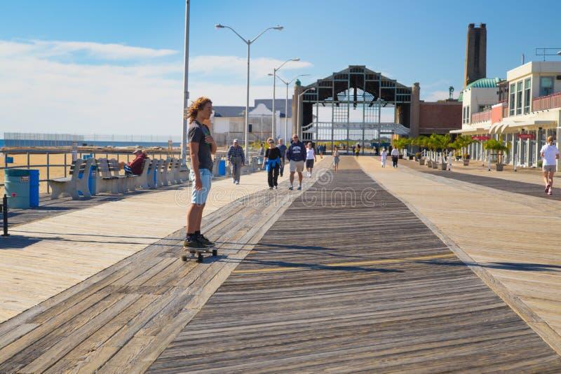 Asbury parkerar strandpromenaden fotografering för bildbyråer
