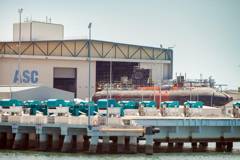 ASC Collins Class onderzeeër in dok stock foto