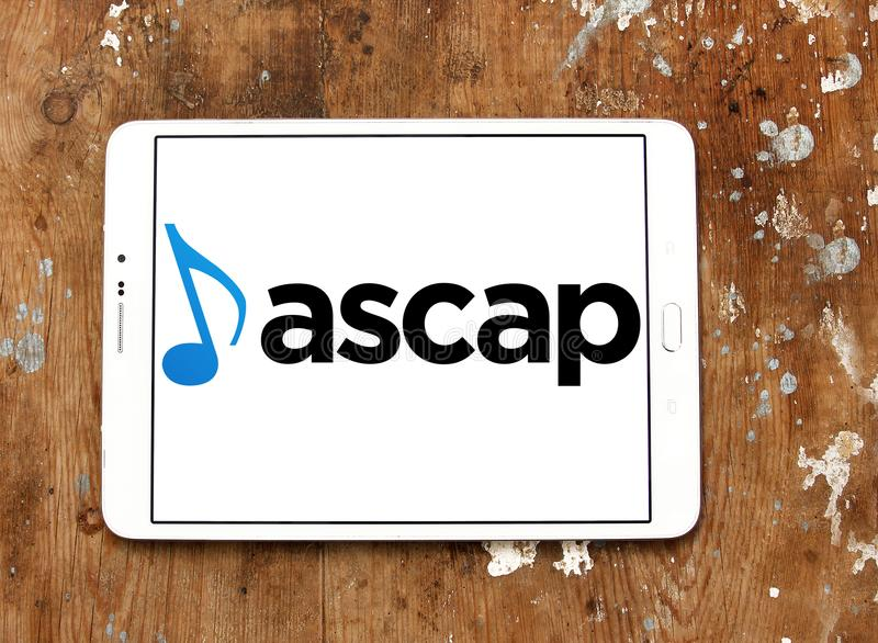 ASCAP , American Society of Composers, Authors and Publishers logo. Logo of ASCAP , American Society of Composers, Authors and Publishers on samsung tablet stock images