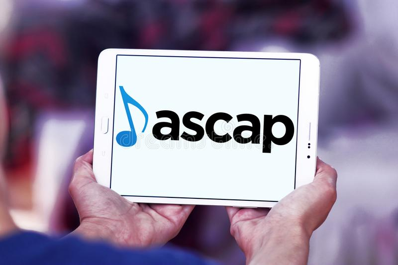 ASCAP , American Society of Composers, Authors and Publishers logo. Logo of ASCAP , American Society of Composers, Authors and Publishers on samsung tablet royalty free stock photo