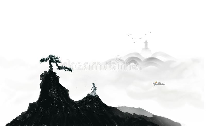 Ascend to the top landscape Ink painting. ,Ascend look far chinese clouds distant earth fairyland forest flying freehand ink landscape royalty free illustration