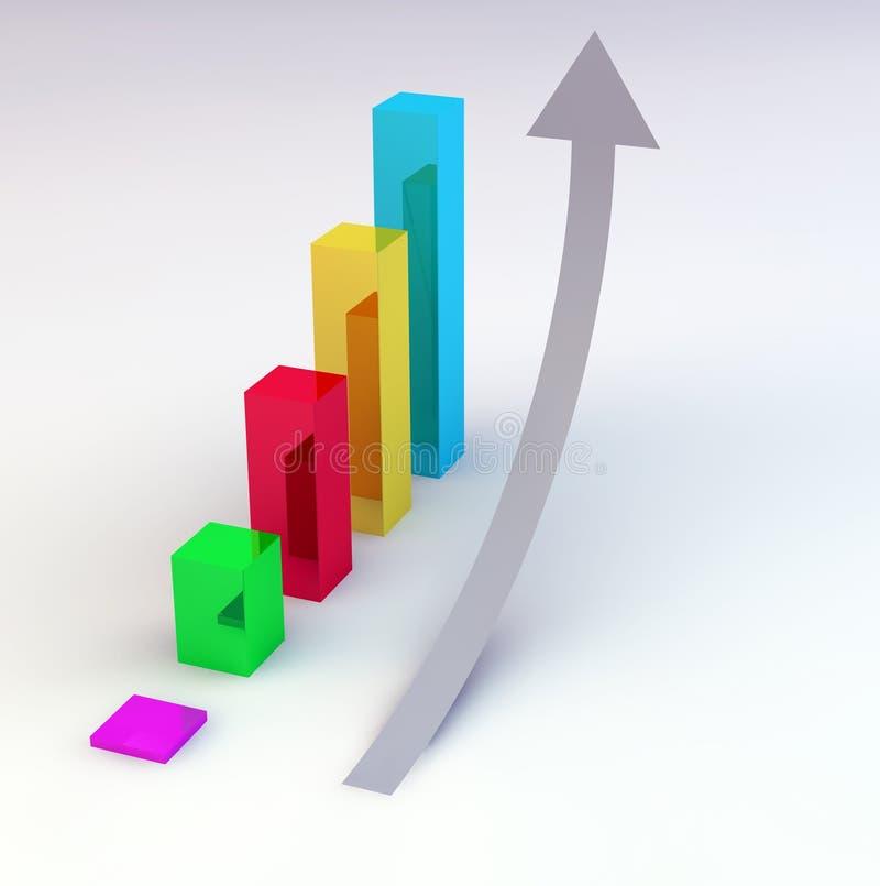 Ascending arrow bar graph. 3D grey ascending arrow beside a colorful bar graph stock illustration