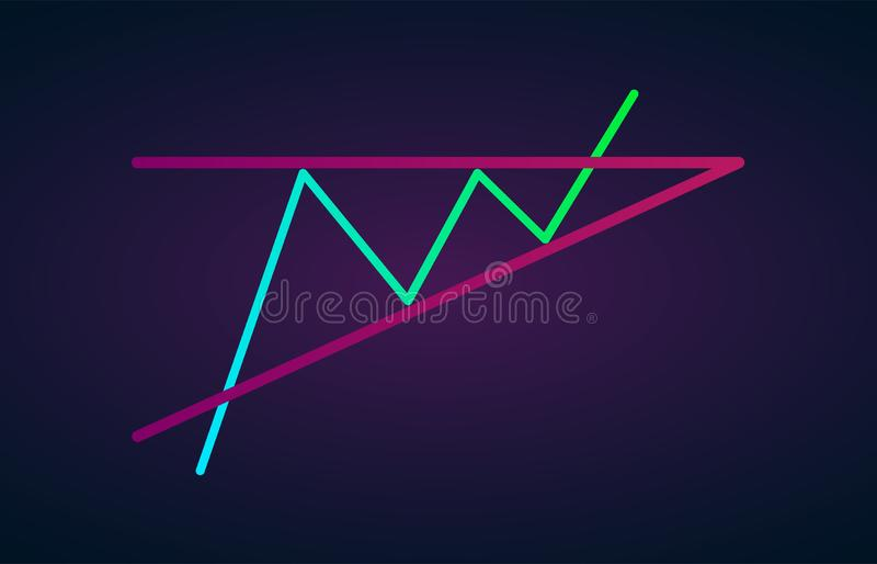 Ascending bullish triangle breakouts flat vector icon. Vector stock cryptocurrency exchange graph forex analytics trading market. Ascending triangle pattern royalty free illustration