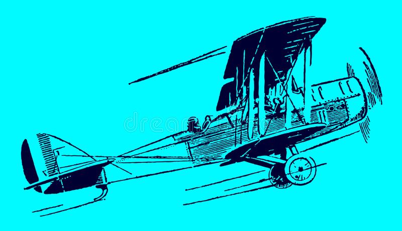 Ascending historical single-engine biplane. Illustration on a blue background after a lithography from the early 20th century. Editable in layers vector illustration