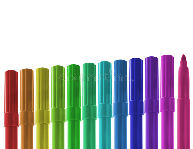 Download Ascending Row Of Colored Markers Stock Image - Image: 6231321