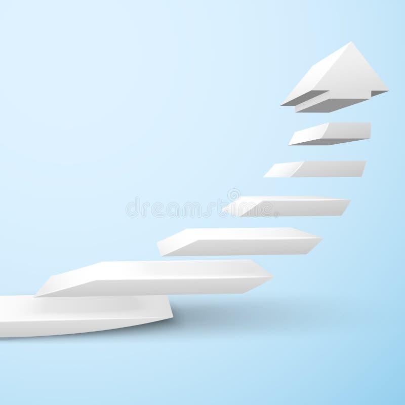 Ascending staircase arrow. Ascending upward staircase arrow symbol rising moving improvement concept vector illustration stock illustration