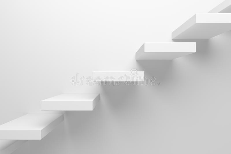 Ascending stairs closeup abstract white 3d illustration. Ascending stairs of rising staircase going upward closeup view abstract white 3d illustration. Business stock illustration