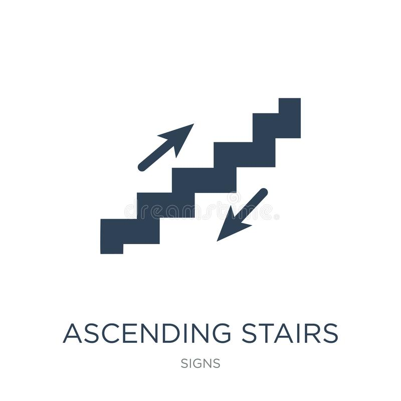 Ascending stairs icon in trendy design style. ascending stairs icon isolated on white background. ascending stairs vector icon. Simple and modern flat symbol stock illustration