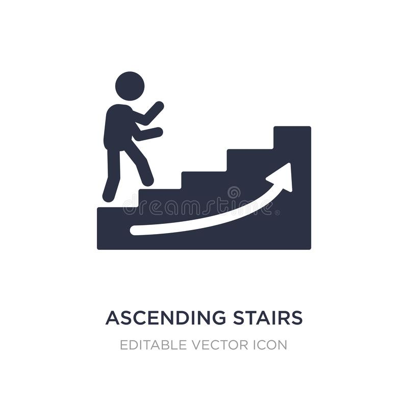 Ascending stairs icon on white background. Simple element illustration from Signs concept. Ascending stairs icon symbol design royalty free illustration