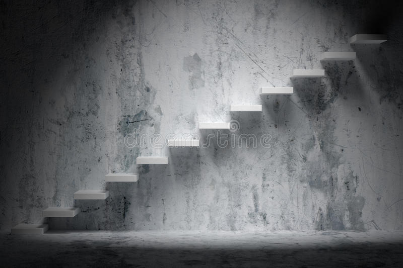 Ascending stairs of rising staircase in rough dark empty room. Business rise, forward achievement, progress way, success and hope creative concept: Ascending royalty free illustration
