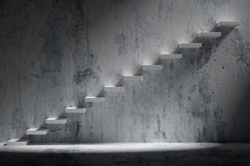 Ascending stairs of rising staircase in rough dark empty room wi. Business rise, forward achievement, progress way, success and hope creative concept: Ascending stock illustration