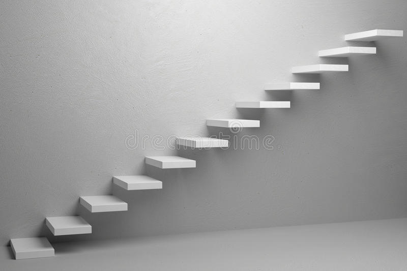 Ascending stairs of rising staircase in white empty room 3d illustration. Business rise, forward achievement, progress way, success and hope creative concept stock illustration