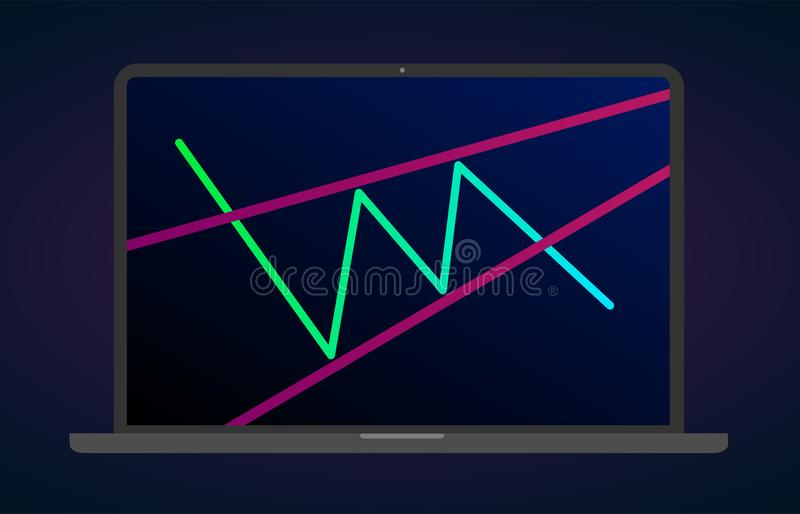 Ascending wedge pattern figure technical analysis. Vector stock and cryptocurrency exchange graph, forex analytics trading chart. Ascending wedge pattern figure vector illustration