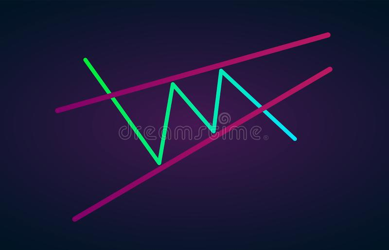 Ascending wedge pattern figure technical analysis. Vector stock and cryptocurrency exchange graph, forex analytics and trading. Market chart. Rising bearish stock illustration