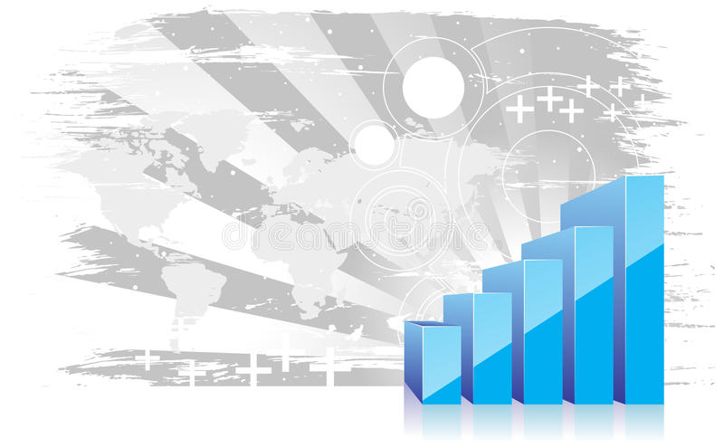 ascensão da exibição do gráfico 3d nos lucros ilustração stock