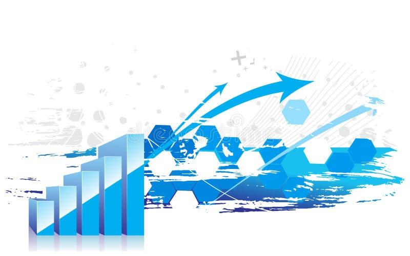 ascensão da exibição do gráfico 3d nos lucros ilustração do vetor