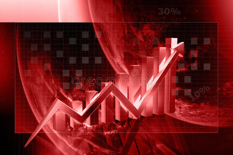 ascensão da exibição do gráfico 3d nos lucros ou no salário ilustração royalty free