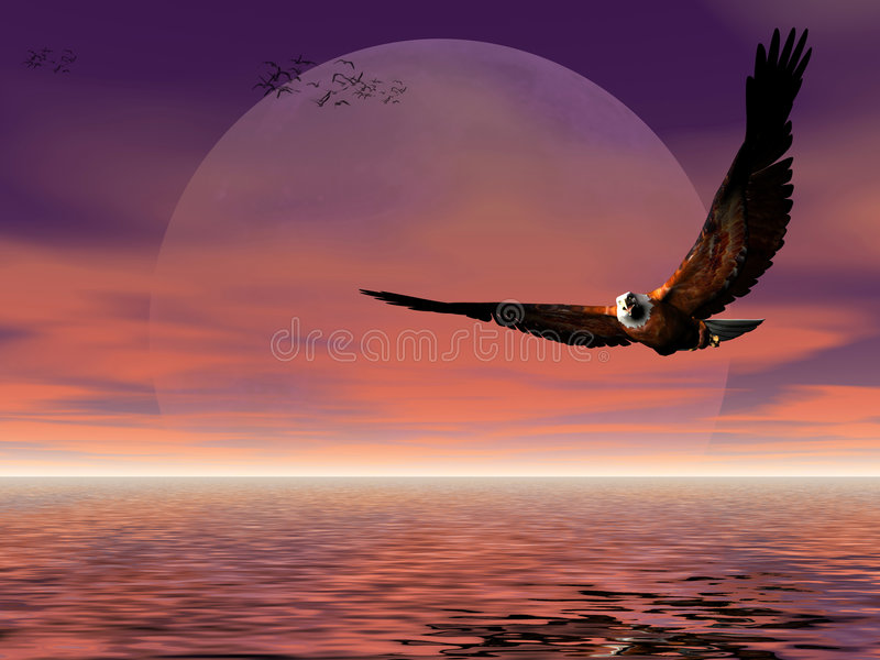 Ascensão da lua com águia. ilustração stock