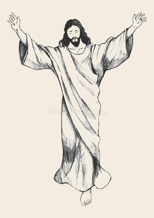 Ascensão de Jesus Christ Sketch ilustração stock