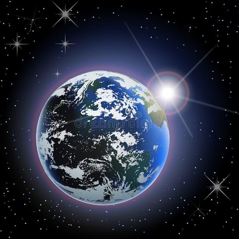 Ascensão de Sun da terra do espaço ilustração do vetor
