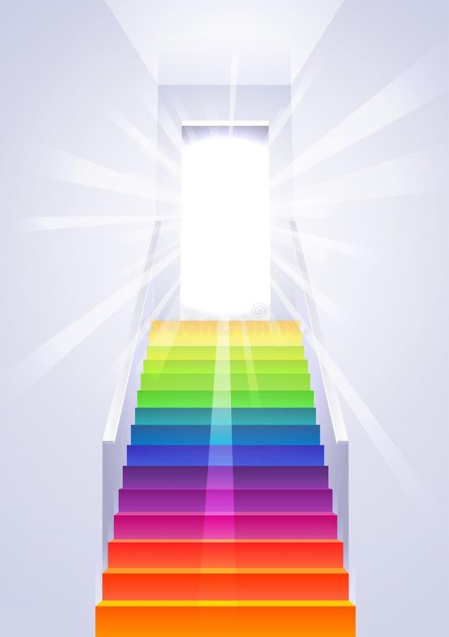 Ascensão na escada do arco-íris - vetor ilustração stock