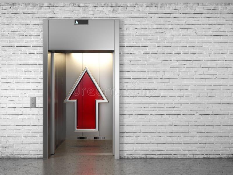 Ascenseur avec les trappes ouvertes et la flèche haute illustration stock