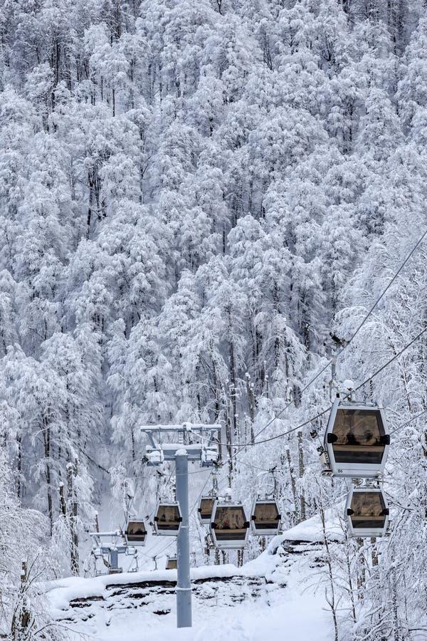 Ascenseur de carlingue de benne suspendue sur paysage vertical de fond de forêt d'hiver le beau images stock