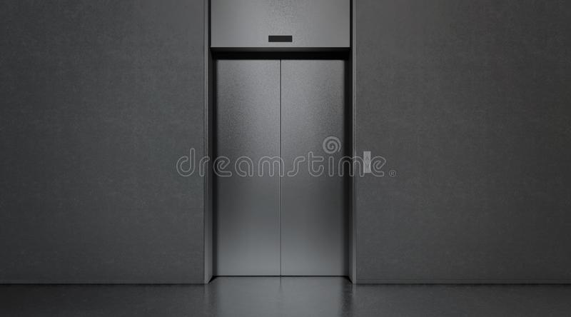 Ascenseur fermé noir vide dans la moquerie d'intérieur de plancher de bureau, illustration stock