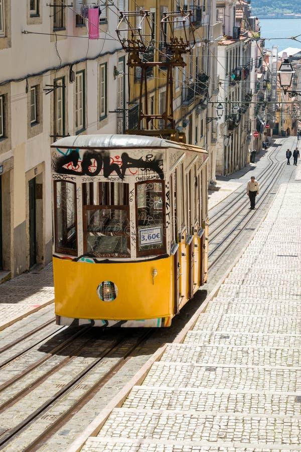 Ascenseur funiculaire Lisbonne Portigal de Bica photos stock