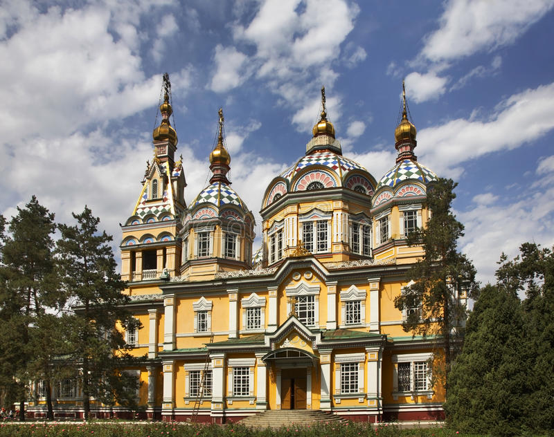 Ascension Cathedral (Zenkov Cathedral) in Almaty. Kazakhstan royalty free stock image