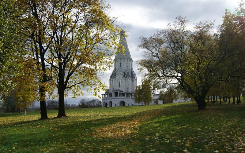 Ascension Church in Kolomenskoye, 16th century, view from the park in autumn foliage, Moscow, Russia. October 14, 2010 royalty free stock images