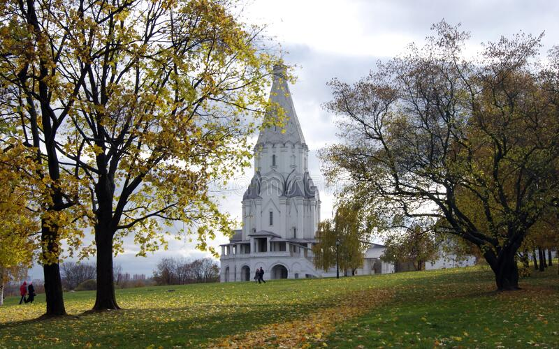 Ascension Church in Kolomenskoye, 16th century, view from the park in autumn foliage, Moscow, Russia. October 14, 2010 royalty free stock photography