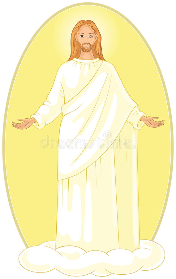 Ascensione di Jesus Christ in abiti bianchi che stanno su una nuvola con le armi aperte royalty illustrazione gratis