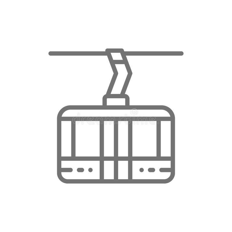 Ascensore di sci, cabina di funivia, linea icona della teleferica della cabina royalty illustrazione gratis