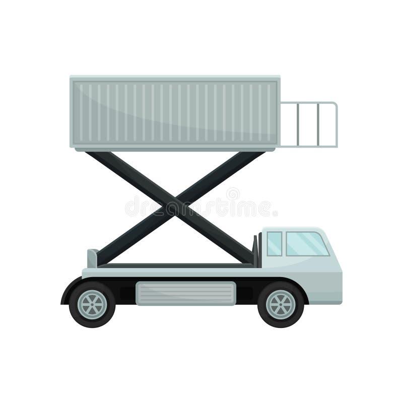 Ascensore per persone degli aerei o camion d'approvvigionamento, vista laterale Attrezzatura per l'imbarco piano Tema dell'aeropo illustrazione vettoriale