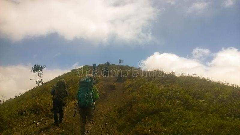 The ascent of Mount Merbabu boyolali in Central Java Mount Merbabu is one of the highest mountain in Central Java. Between the towns of magelang, Salatiga and royalty free stock photo