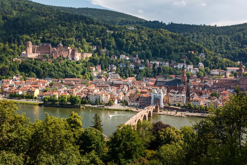 Ascent to the Philosophers Way with a view of the Heidelberg Castle and the Old Bridge, Heidelberg, Baden-Wuerttemberg, Germany. Ascent to the Philosophers` Way royalty free stock photography