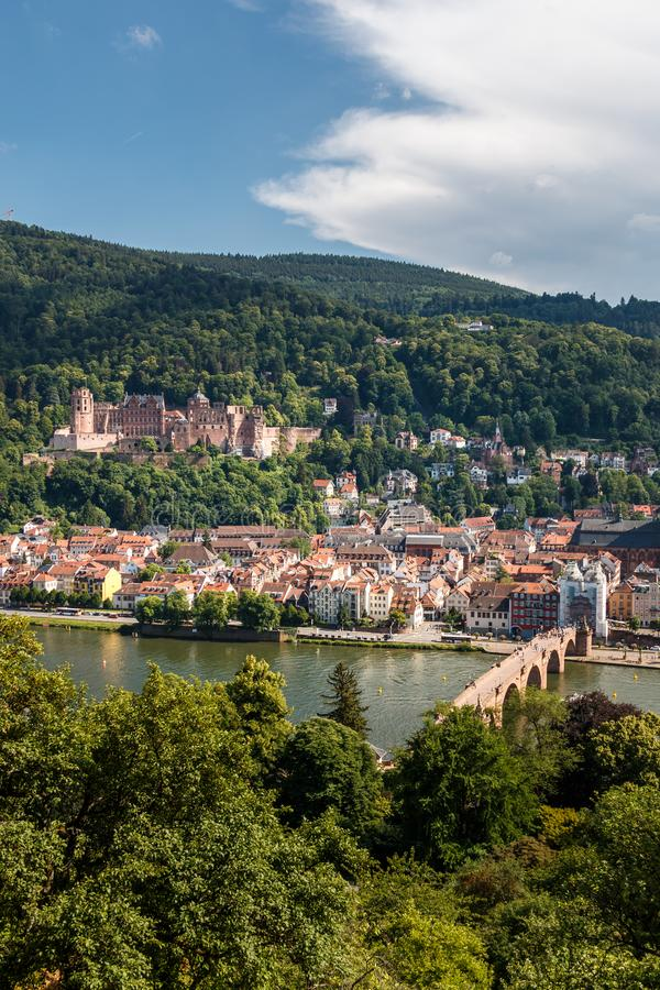 Ascent to the Philosophers` Way with a view of the Heidelberg Castle and the Old Bridge, Heidelberg, Baden Wuerttemberg. Germany royalty free stock images