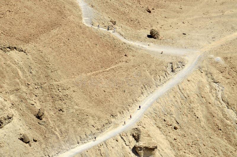 Ascesa sulla fortezza di Masada, Israele. fotografie stock libere da diritti