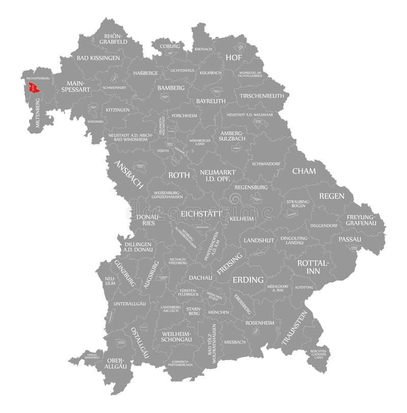Aschaffenburg miasta czerwień podkreślająca w mapie Bavaria Niemcy royalty ilustracja