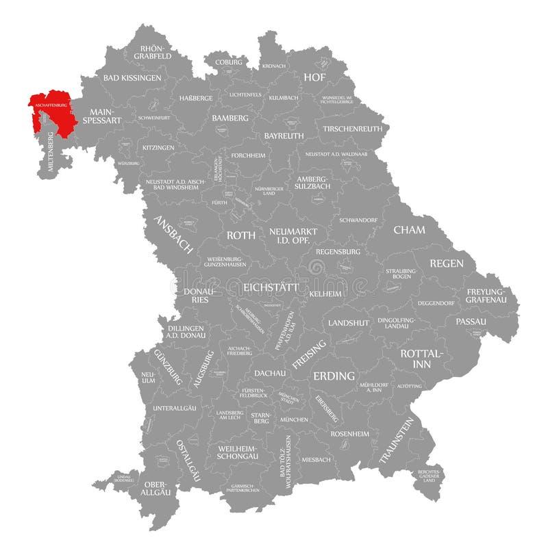 Aschaffenburg okręgu administracyjnego czerwień podkreślająca w mapie Bavaria Niemcy royalty ilustracja