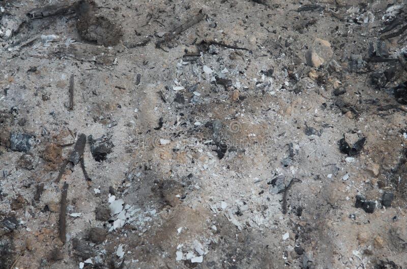 Asche von gebranntem Holz auf dem Grundhintergrund stockbild