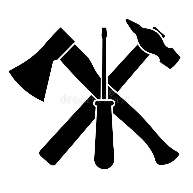 Ascia, cacciavite e martello su un fondo bianco royalty illustrazione gratis