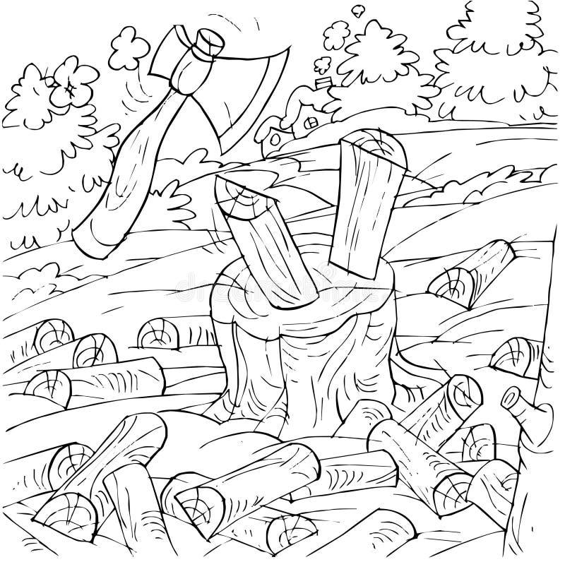 Ascia che taglia legna da ardere a pezzi illustrazione vettoriale