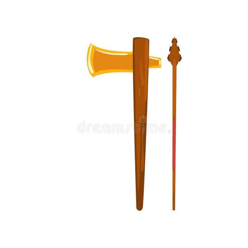 Ascia e lancia, arma di civilizzazione di maya, illustrazione tribale americana di vettore dell'elemento della cultura su un fond illustrazione di stock