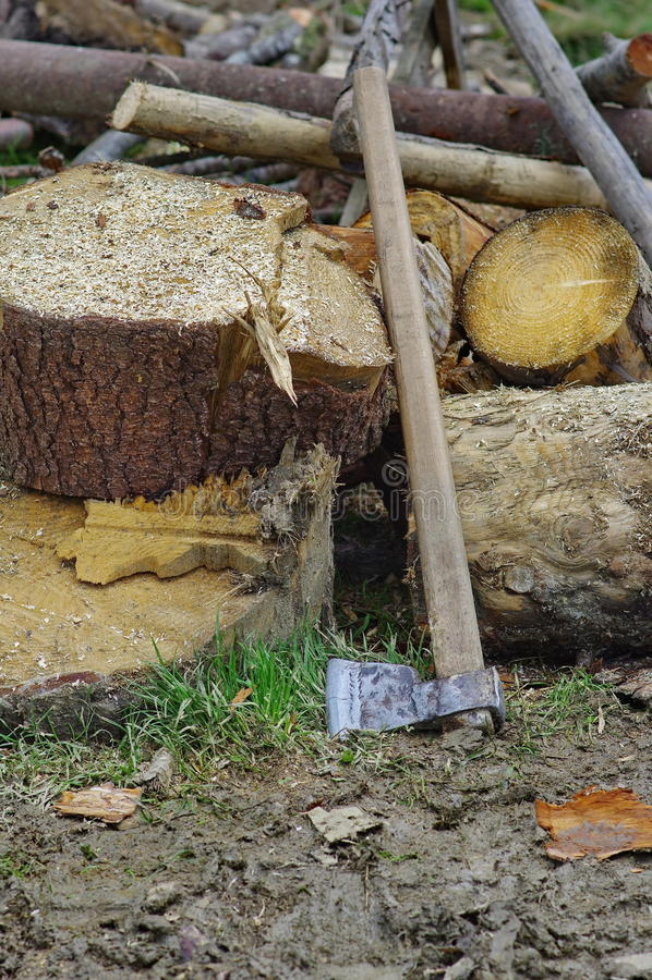 Ascia e legna da ardere immagini stock